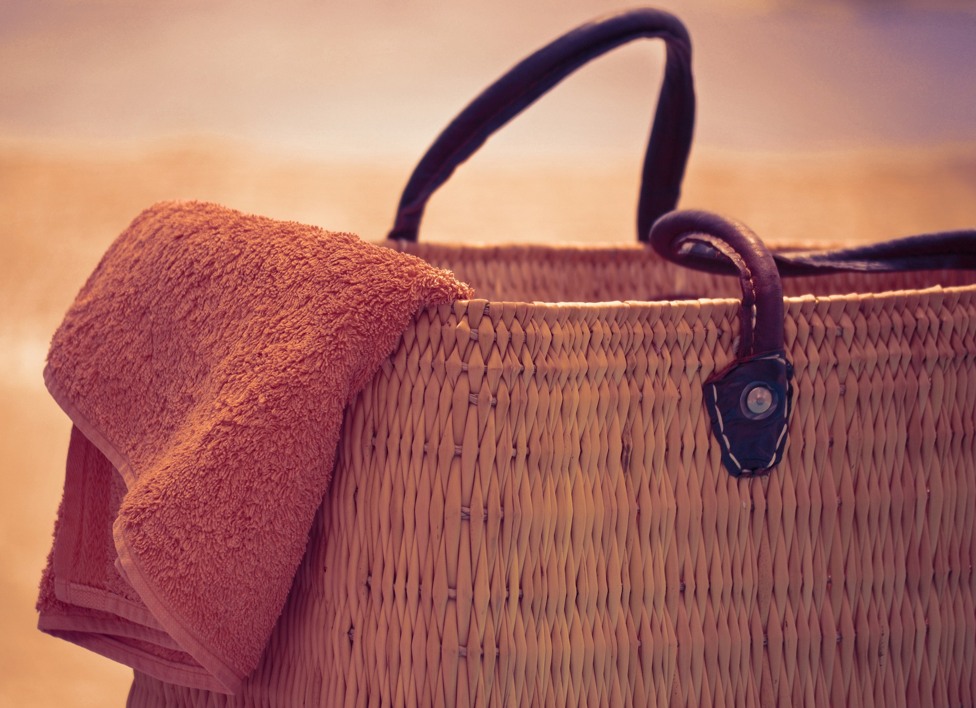 beach bag and towel